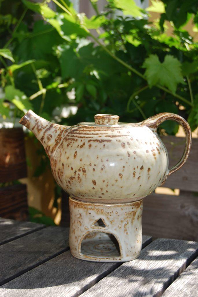 Teekanne Keramik mit Stövchen Steinzeug Natur